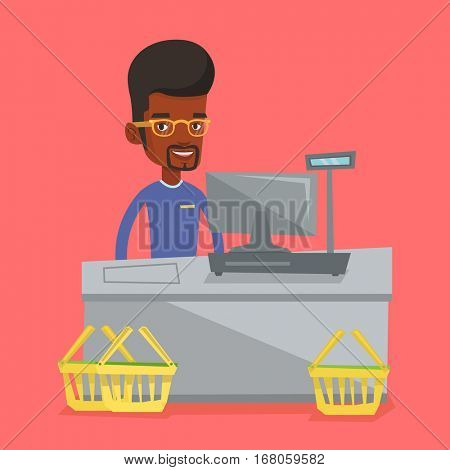 African-american cashier working at checkout in a supermarket. Cashier standing at the checkout in supermarket. Cashier standing near the cash register. Vector flat design illustration. Square layout.