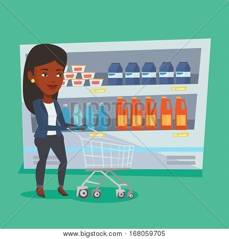 African-american woman walking with cart on aisle at supermarket. Woman pushing an empty supermarket cart. Customer shopping at supermarket with cart. Vector flat design illustration. Square layout.