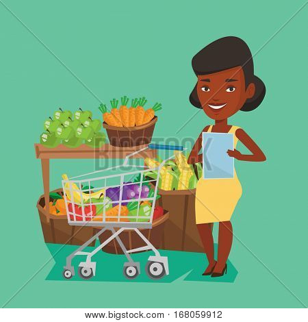 Young african-american woman checking shopping list. Smiling woman holding shopping list near trolley with products. Happy girl writing in shopping list. Vector flat design illustration. Square layout