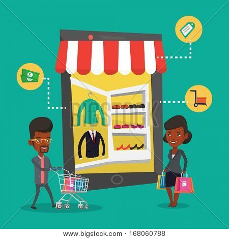 Young african-american man and woman doing online shopping. Man and woman using mobile shopping. People walking in store that looks like tablet computer. Vector flat design illustration. Square layout