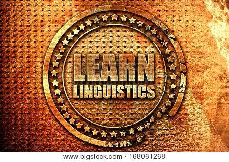 learn linguistics, 3D rendering, grunge metal stamp