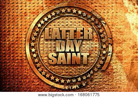 latter day saint, 3D rendering, grunge metal stamp