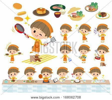 Yellow Clothes Bobbed Boy Cooking