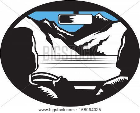 Illustration showing driver and passenger glancing looking up at the mountain peak through the front car windshield viewed from the back set inside oval shape with mountain in the background done in retro woodcut style
