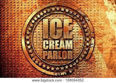 ice cream parlor, 3D rendering, grunge metal stamp