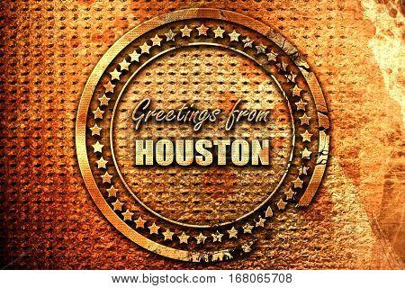 Greetings from houston, 3D rendering, grunge metal stamp