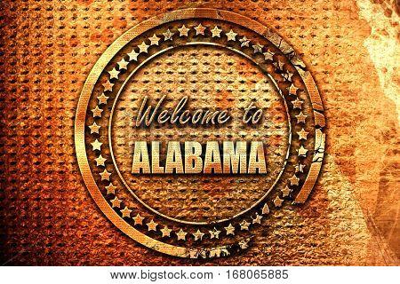 Welcome to alabama, 3D rendering, grunge metal stamp