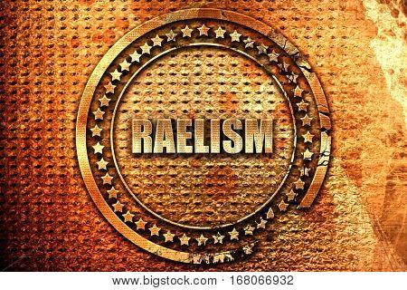 raelism, 3D rendering, grunge metal stamp