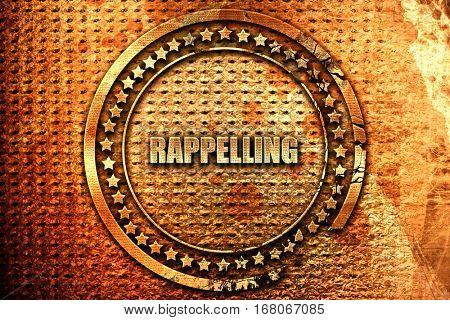 rappelling, 3D rendering, grunge metal stamp