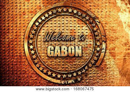 Welcome to gabon, 3D rendering, grunge metal stamp