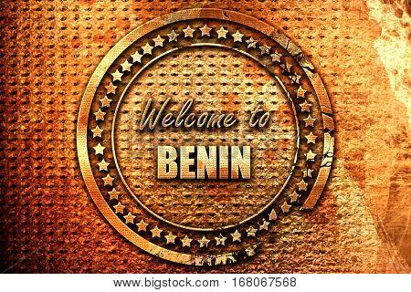 Welcome to benin, 3D rendering, grunge metal stamp