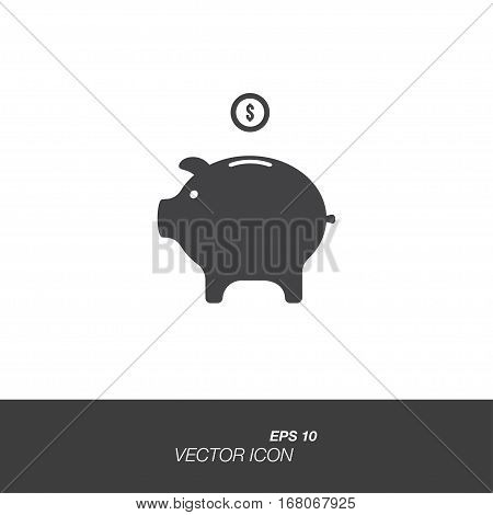 Money box icon in flat style isolated on white background. Money box symbol for your design and logo. Vector illustration EPS 10.