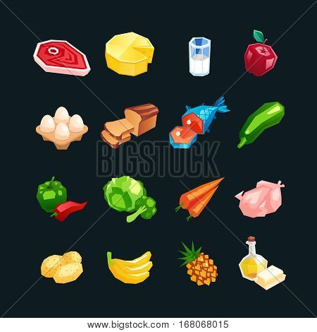 Everyday food products. Icons of vegetables fruits and meat isolated on a dark background. Icons of healthy food in a cartoon style. Vector illustration.