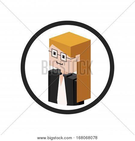 Secretary isometric avatar icon vector illustration graphic design