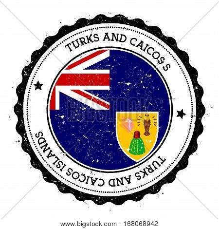 Turks And Caicos Islands Flag Badge. Vintage Travel Stamp With Circular Text, Stars And Island Flag