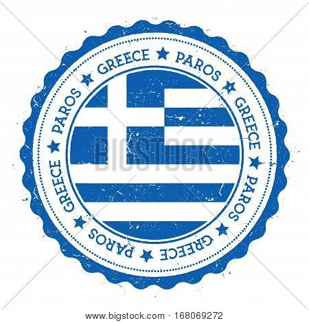 Paros Flag Badge. Vintage Travel Stamp With Circular Text, Stars And Island Flag Inside It. Vector I