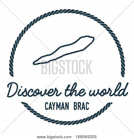 Cayman Brac Map Outline. Vintage Discover The World Rubber Stamp With Island Map. Hipster Style Naut