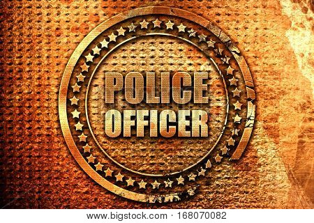 police officer, 3D rendering, grunge metal stamp