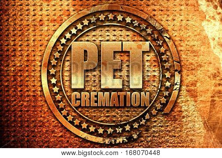 pet cremation, 3D rendering, grunge metal stamp