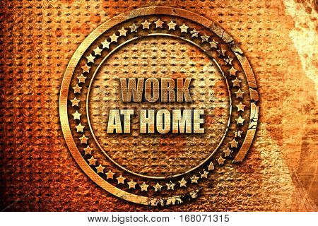 work at home, 3D rendering, grunge metal stamp