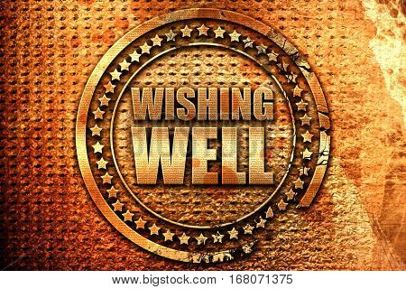 wishing well, 3D rendering, grunge metal stamp