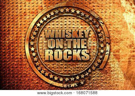 whiskey on the rocks, 3D rendering, grunge metal stamp