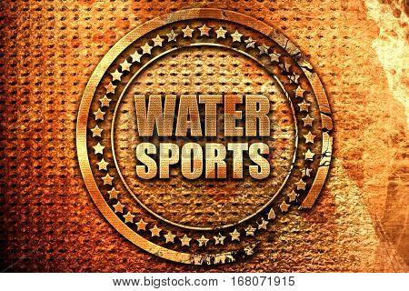 water sports, 3D rendering, grunge metal stamp