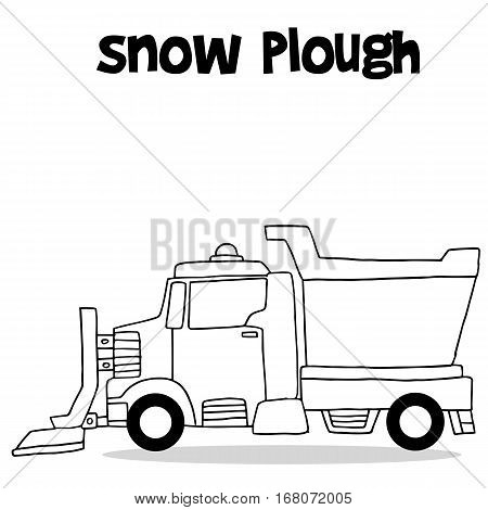 Snow plough with hand draw vector illustration