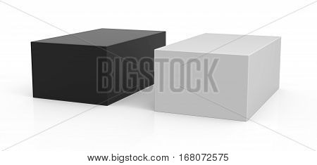 one white box and one black box packaging template 3d rendering white background