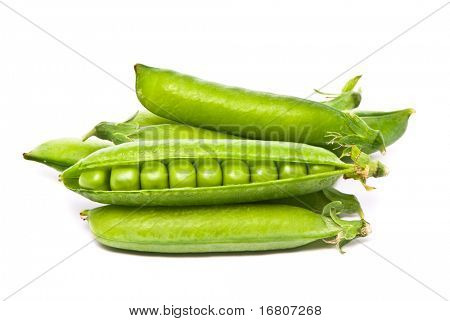 Pods of fresh green peas on a white background