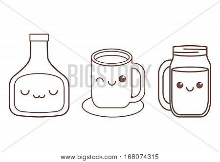 sauce bottle cup and glass kawaii icon image black line  vector illustration design