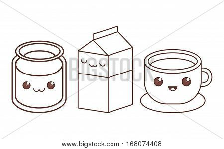 glass milk carton cup kawaii icon image black line  vector illustration design