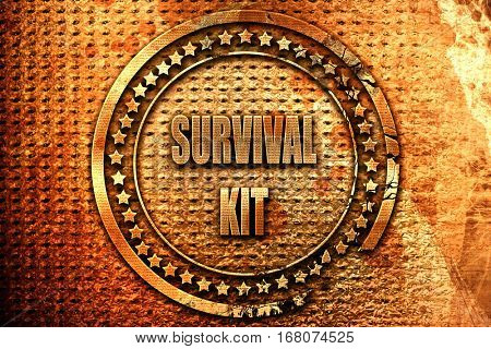 Survival kit sign, 3D rendering, grunge metal stamp