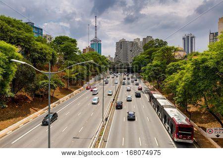 SAO PAULO, BRAZIL - CIRCA NOV 2015: 23 Maio Avenue in Sao Paulo, Brazil