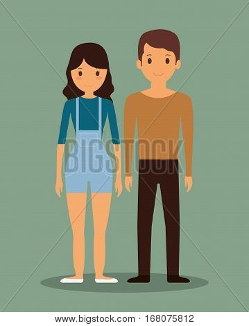 romantic heterosexual young couple full body icon image vector illustration design