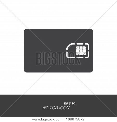 Sim card icon in flat style isolated on white background. Sim card symbol for your design and logo. Vector illustration EPS 10.