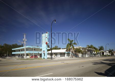 MIAMI - FEBRUARY 1 2017: Long exposure photo of Motel South Pacific located at 6300 Biscayne Boulevard and was recently converted into commercial business space.