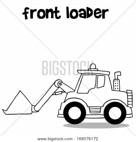 Hand draw front loader collection vector illustration