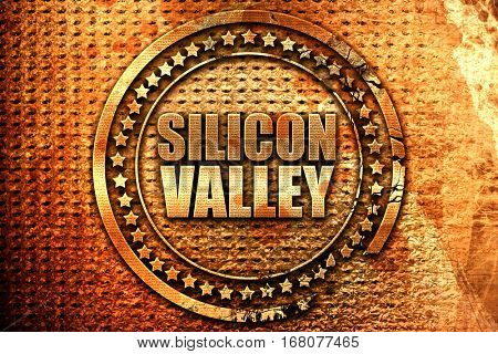 silicon valley, 3D rendering, grunge metal stamp