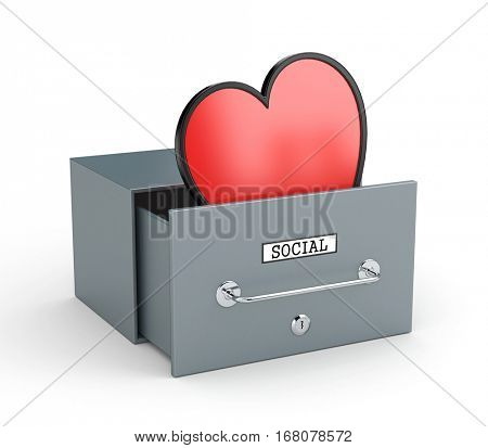 Mailbox with heart - like in social networks. Social networks metaphor. 3d illustration