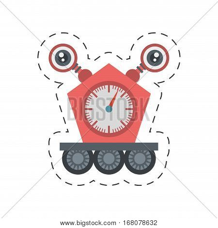 robot clock eletronic mechanical cutting line vector illustration eps 10