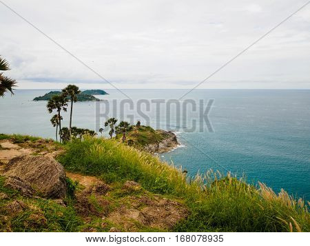 The Phromthep Cape phuket Thailand with sea and sky background.