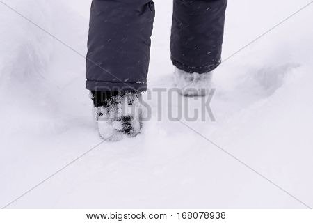 child's feet in the snow shoe walking on a track in a snowstorm.