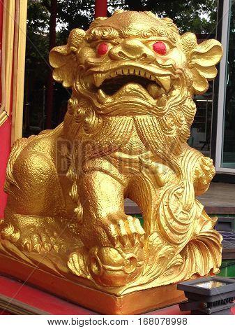 Gold Pixiu mascot animal of china, Chinese lucky animal mascot.