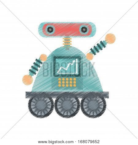 drawing robot android automation icon vector illustration eps 10