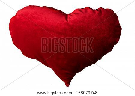 Red heart shape pillow isolated on white background