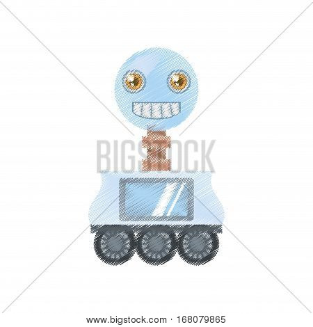 drawing arificial intelligence robotic smiling screen vector illustration eps 10