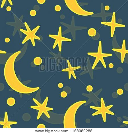 Cartoon night sky with space stars and moon for design in kids or baby style . Vector seamless illustration