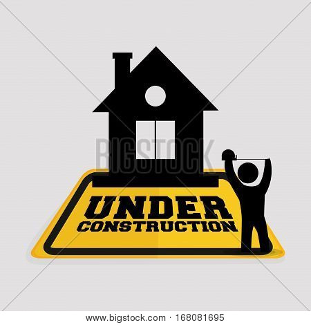under construction worker house tape measuring vector illustration eps 10