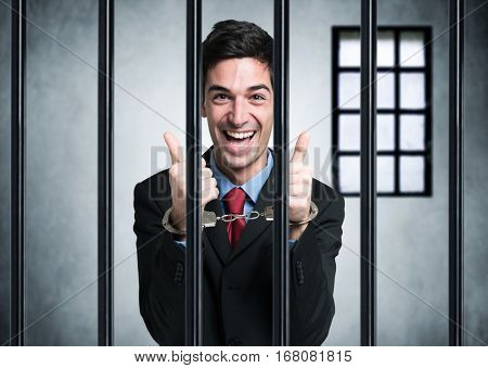 Business man happy to be in prison